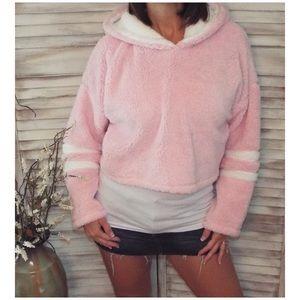 Tops - Plush Sherpa Fleece Cropped Hoodie Pink 2219